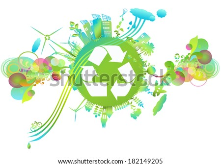 eco friendly green energy concept vector stock vector 264496331 shutterstock. Black Bedroom Furniture Sets. Home Design Ideas