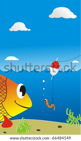 Illustration playful underwater submissions with the big fish and the scared small worm on a fishing hook - stock photo