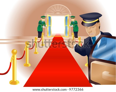 Illustration, point of view of person getting out of a limousine with chauffer and doormen beckoning him or her into a venue like a vip or celebrity - stock photo
