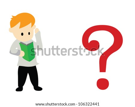 Illustration - Question.The man's thinking about the question. - stock photo