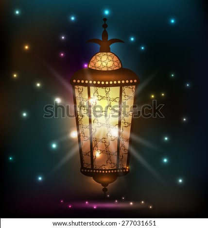 Illustration Ramadan background with arabic lantern - raster - stock photo