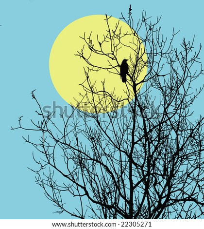 illustration ravens sitting on tree against sun - stock photo