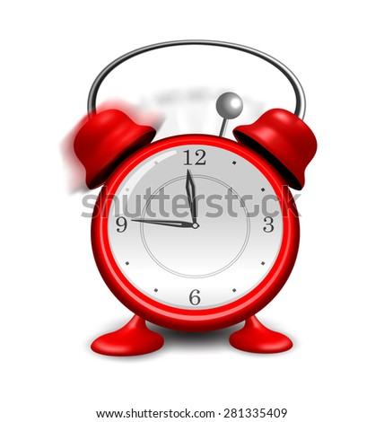 Illustration red alarm clock close up, isolated on white background - raster - stock photo