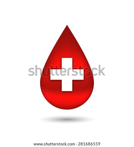 Illustration red blood drop with cross, isolated on white background - raster - stock photo