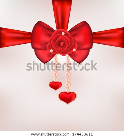Illustration red bow with rose, heart, pearls for card Valentine Day - raster - stock photo