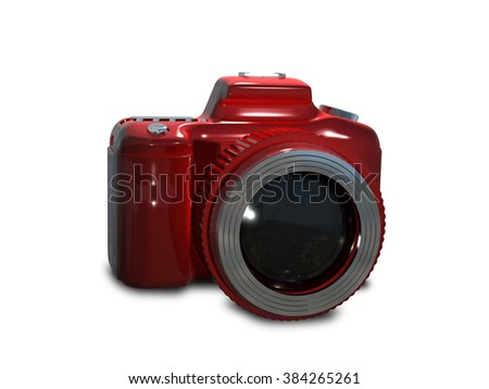 Illustration red camera on a white background