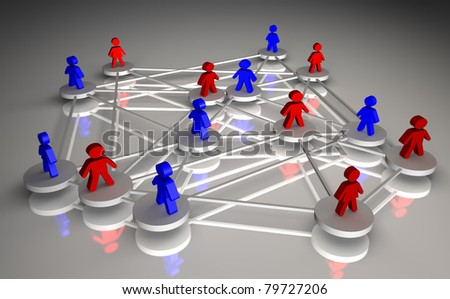 Illustration rendered of the concept of people connected - stock photo