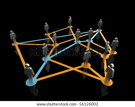 Illustration representing a network of connected people on a black background - stock photo