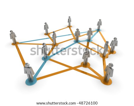 Illustration representing a network of connected people on a white background - stock photo