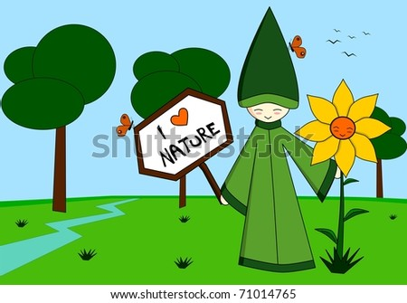 Illustration representing an elf holding a sign, with a sunflower, in a natural place