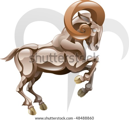 Illustration representing Aries the ram star or birth sign. Includes the symbol or icon in the background - stock photo