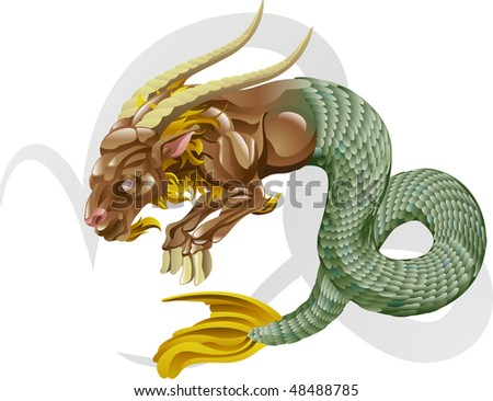 Illustration representing Capricorn the sea goat star or birth sign. Includes the symbol or icon in the background - stock photo