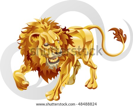 Illustration representing Leo the lion star or birth sign. Includes the symbol or icon in the background - stock photo