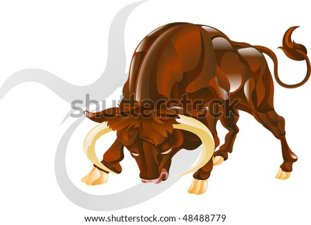 Illustration representing Taurus the bull star or birth sign. Includes the symbol or icon in the background