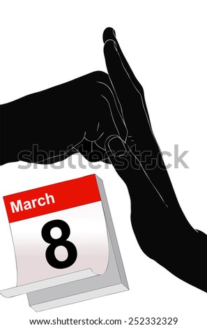 Illustration representing the symbolic day of 8 March against violence on women  - stock photo
