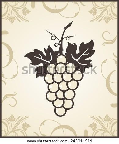 Illustration retro engraving of grapevine - raster - stock photo