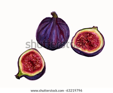 Illustration, Ripe figs on white background, Sliced to show seeds and Pulp Inside. - stock photo