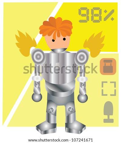 Illustration - Robot.He wears armor of robot. - stock photo