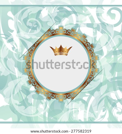 Illustration royal background with golden ornate frame and heraldic crown - raster - stock photo