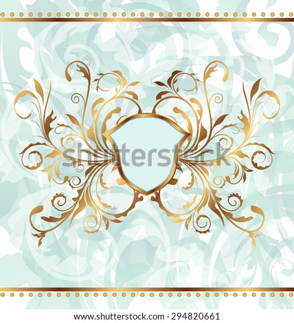 Illustration royal background with golden ornate frame and heraldic shield - raster - stock photo