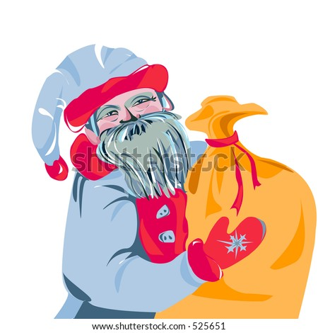 Illustration Santa Claus with gift bag