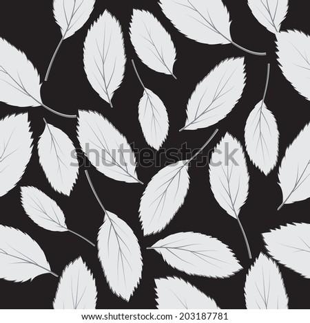 illustration  seamless pattern grey leaves on black background - stock photo