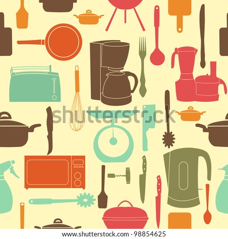 illustration seamless pattern of kitchen tools for cooking - stock photo