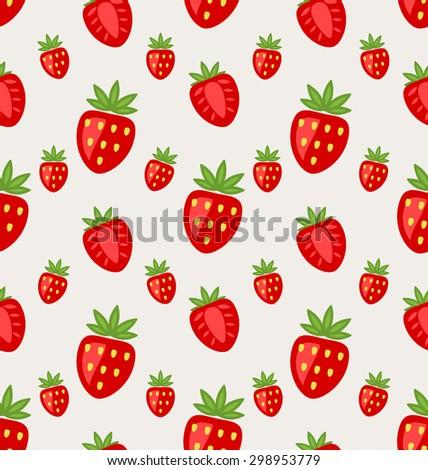 Illustration Seamless Pattern of Ripe Strawberry, Retro Wallpaper - raster - stock photo