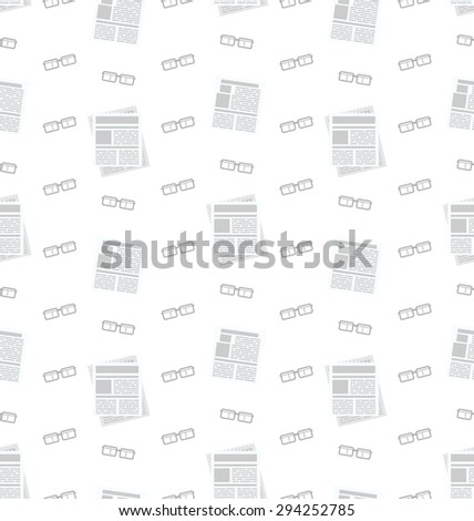 Illustration Seamless Pattern with Newspapers and Eyeglasses, Flat Business Icons, Repeating Backdrop - raster - stock photo
