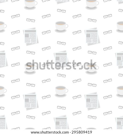 Illustration Seamless Pattern with Newspapers, Coffee and Eyeglasses, Flat Business Icons, Repeating Wallpaper - raster - stock photo