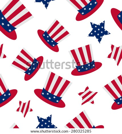 Illustration seamless pattern with Uncle Sam's top hat and stars for american holidays, repeating backdrop - raster - stock photo