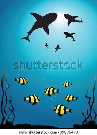 Illustration - seascape of sharks circling smaller fish - stock photo