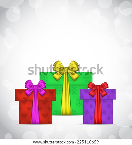 Illustration set Christmas gift boxes on light background - stock photo