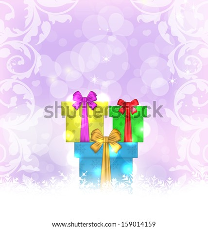 Illustration set Christmas gift boxes on light background - raster - stock photo