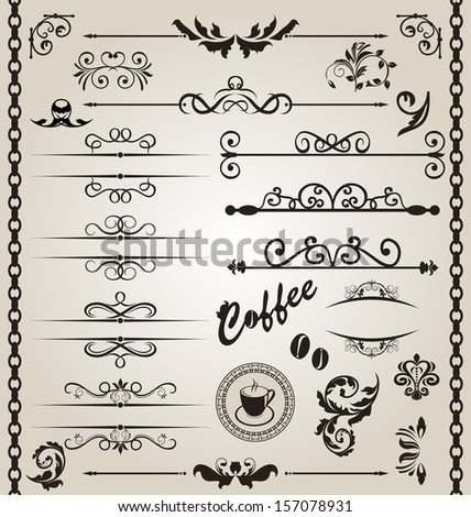 Illustration set floral ornate design elements (7) - raster - stock photo