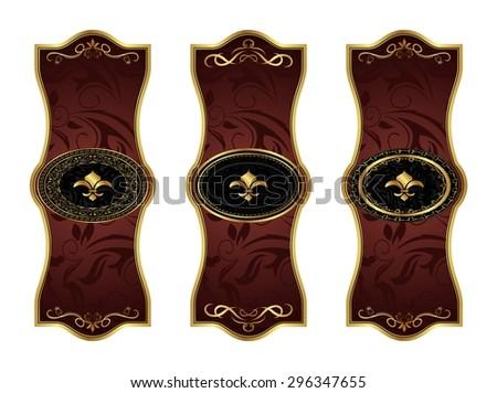 Illustration set gold decorative frames - raster - stock photo
