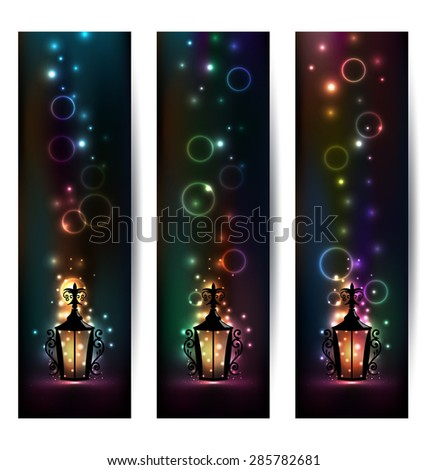Illustration set islamic light banners with lantern - raster - stock photo