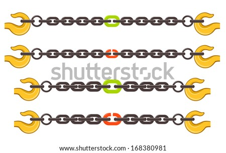 Illustration set of chains, weak or strong link concept - stock photo