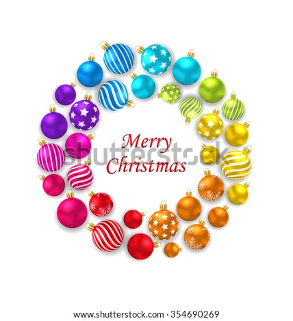 Illustration Set of Colorful Christmas Glass Balls, Round Frame - raster - stock photo