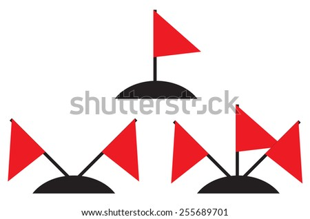 Illustration set of different amounts of red flags - stock photo