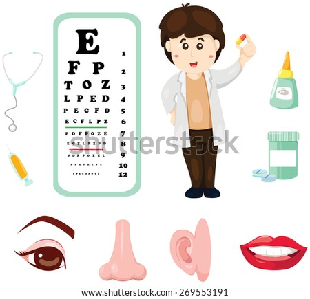 illustration set of doctor with eye chart ,medicine and part of body  - stock photo
