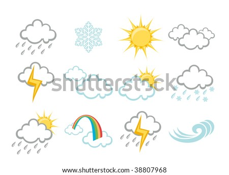 illustration set of elegant Weather Icons for all types of weather
