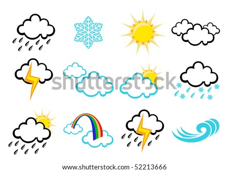 illustration set of elegant Weather Icons for all types of weather - stock photo