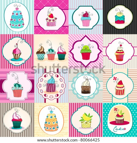 Illustration set of hand drawn cute retro cupcakes backgrounds - stock photo
