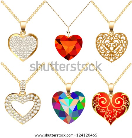 illustration set of pendants pendant with precious stones in the form of heart - stock photo