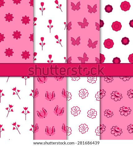 Illustration Set of 8 Seamless Abstract Floral Romantic Pattern - raster - stock photo
