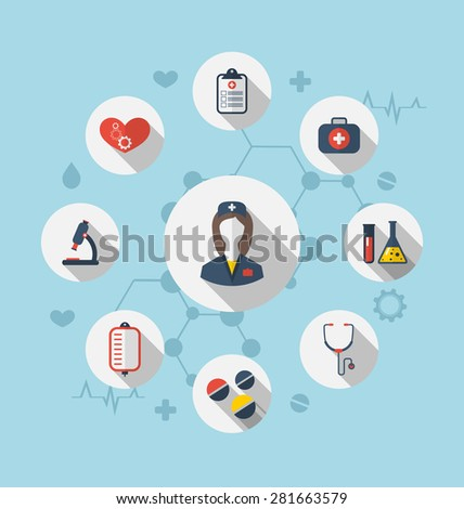 Illustration set trendy flat icons of medical elements and nurse - raster