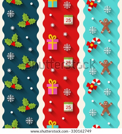 Illustration Set Wallpaper with Traditional Colorful Elements for Christmas and Happy New Year - raster - stock photo