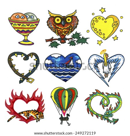 Illustration Set with hearts for St. Valentine's Day  - stock photo