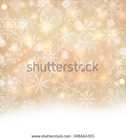 Illustration Shimmering Xmas Light Background with Snowflakes, Winter Wallpaper - raster - stock photo